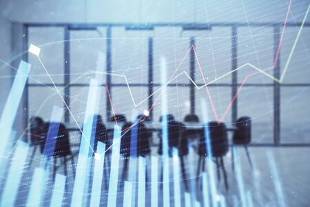 Photo for Multi exposure of stock market graph on conference room background. Concept of financial analysis - Royalty Free Image