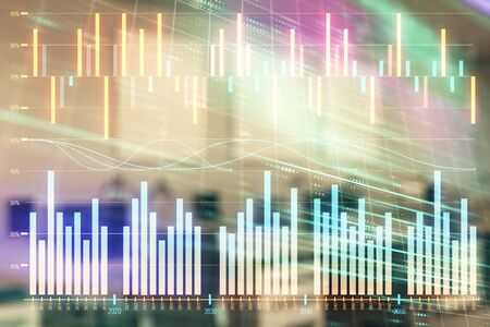 Photo for Stock market chart with trading desk bank office interior on background. Double exposure. Concept of financial analysis - Royalty Free Image
