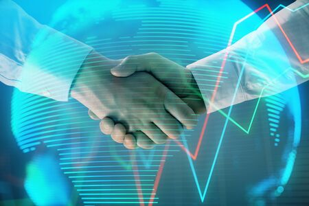 Photo for Multi exposure of forex graph and world map on abstract background with two businessmen handshake. Concept of success on international markets - Royalty Free Image