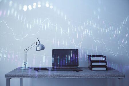 Foto de Stock market chart and desktop office computer background. Multi exposure. Concept of financial analysis. - Imagen libre de derechos