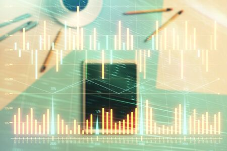 Photo for Double exposure of forex graph on digital tablet laying on table background. Concept of market analysis - Royalty Free Image
