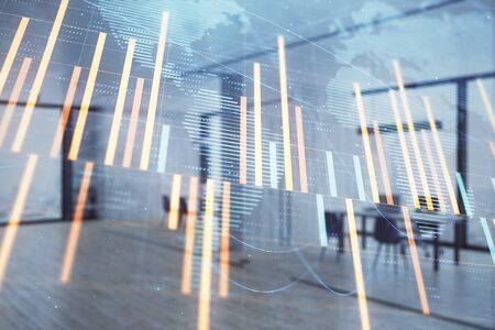 Photo pour Stock and bond market graph and world map with trading desk bank office interior on background. Multi exposure. Concept of international finance - image libre de droit