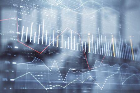Foto de Stock and bond market graph with trading desk bank office interior on background. Multi exposure. Concept of financial analysis - Imagen libre de derechos