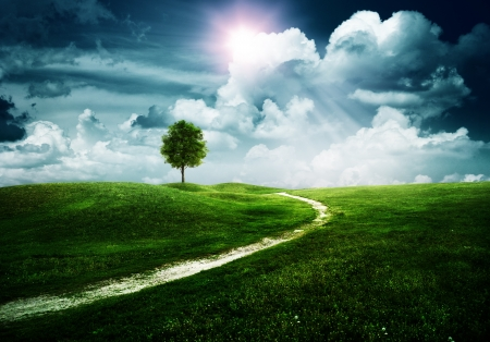 Photo pour Straight way to the happy future. Abstract natural backgrounds - image libre de droit