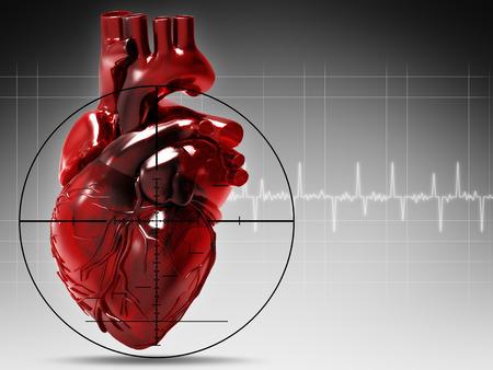 Foto de Human heart under attack, abstract medical background - Imagen libre de derechos
