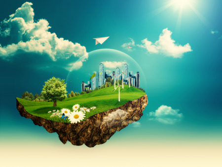 Foto de Flying island. Abstract environmental backgrounds for your design - Imagen libre de derechos