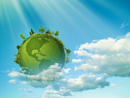 Photo pour Green planet. Abstract eco backgrounds with blue skies, clouds and Earth globe - image libre de droit