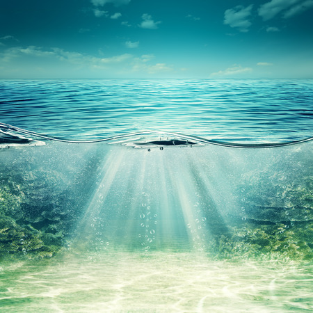 Photo pour Deep blue ocean. Abstract underwater backgrounds for your design - image libre de droit