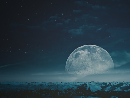 Photo for Foggy night with beauty Moon over snowy mountains.  - Royalty Free Image