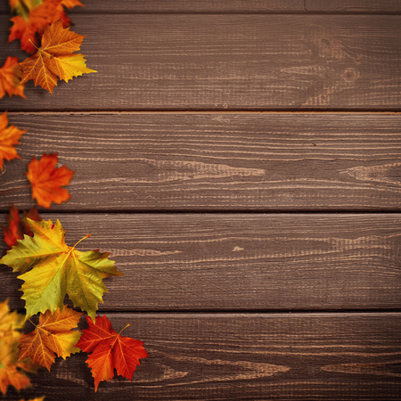 Foto de Abstract autumnal backgrounds. Fall maple leaves over vintage wooden desk - Imagen libre de derechos