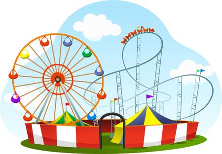 Illustration pour cartoon amusement park roller coaster world wheel - image libre de droit