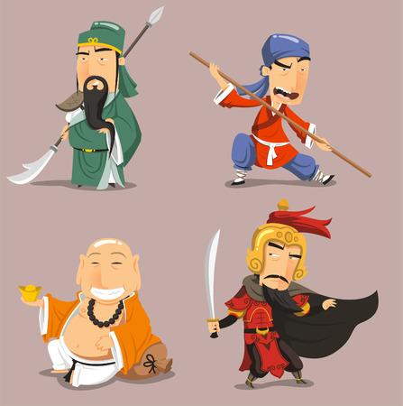 Ilustración de Chinese heroes cartoon characters - Imagen libre de derechos