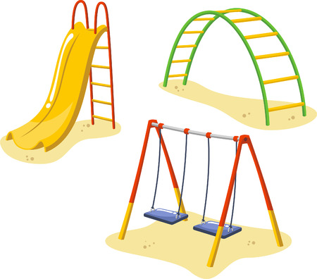 Illustration for Park Playground Equipment set for Children Playing Stations, with sledge, toboggan and hammocks vector illustration. - Royalty Free Image