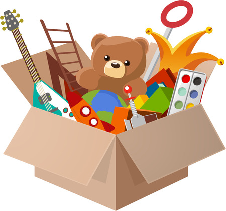 Illustration pour Toy Box, with Teddy Bear, Guitar, Ball, Watercolor, clown, robot. Vector illustration cartoon. - image libre de droit