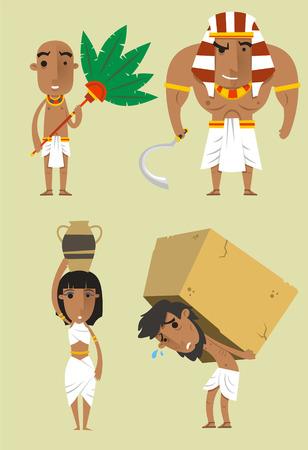 Illustration for Egypt Egyptian People Pharaoh Woman Man Strength vector illustration. - Royalty Free Image