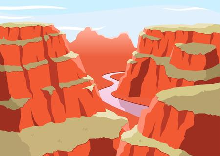 Grand Canyon National Park Arizona United States Colorado Plateau seven natural wonders, vector illustration cartoon.