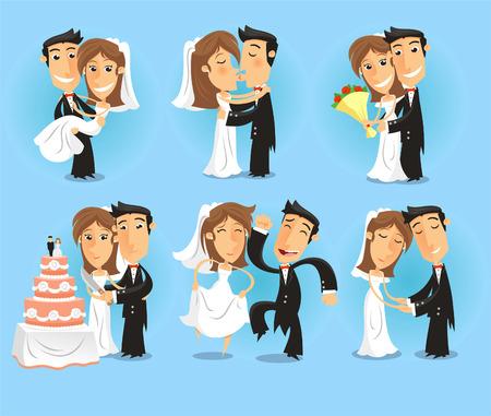 Ilustración de Bride and groom Wedding Party vector illustration. - Imagen libre de derechos