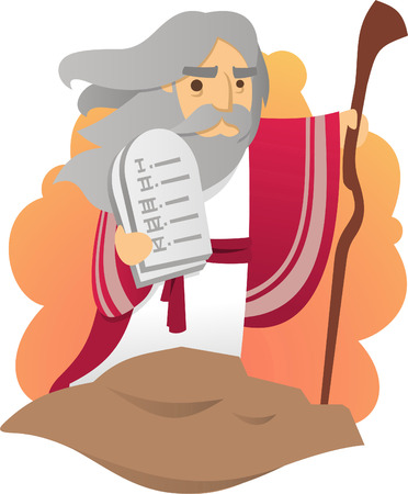 Illustration pour Moses with the tablets of the law of god - image libre de droit
