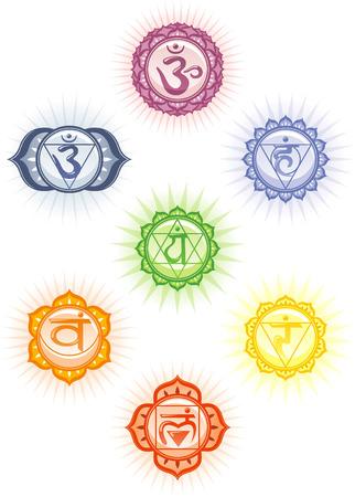 Illustration pour Chakras icon set - image libre de droit