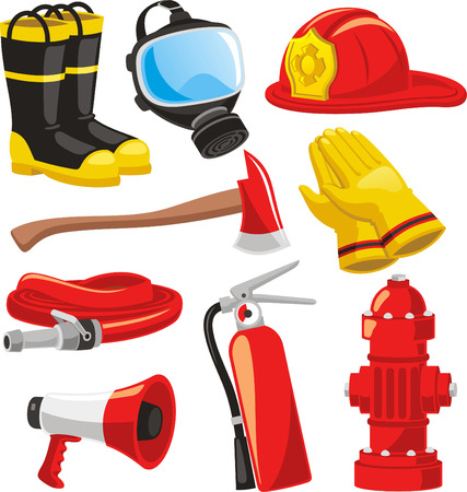 Illustration for Fire-fighter elements set collection, including boots, mask, helmet, axe, gloves, hose, fire extinguisher, megaphone vector illustration. - Royalty Free Image
