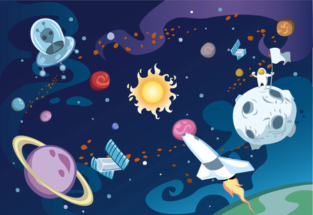 Illustration pour Cartoon galaxy scene featuring spaceship, aliens, sun and the solar system, and an astronaut. - image libre de droit