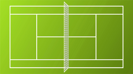 Sport Tennis Court field pitch ground with white Net vector illustration.