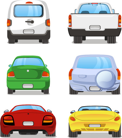 Illustration pour Vector cartoon Car rear set 2. With back view of six different types of car. Pick up truck, truck, mini van, station wagon, sports car, hatchback. - image libre de droit