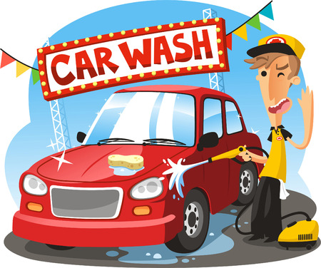 Illustration pour Car Wash Sign with boy washing vehicle, vector illustration cartoon. - image libre de droit
