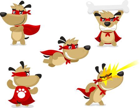 Ilustración de Superhero dog vector illustration, with Superhero paw, Superhero Strength, invulnerability, flight, x ray vision, heat vision, superhero vision, superhero olfaction and master combatant super hero dog. - Imagen libre de derechos
