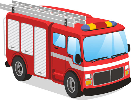 Illustration pour Fire truck cartoon illustration - image libre de droit
