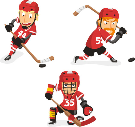 Illustration pour Ice Hockey Player in Action Set, with hockey player in three different positions. Vector illustration cartoon. - image libre de droit