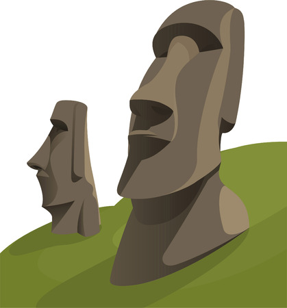 Illustration for Moai Moais Monolithic Statues Polynesia Easter Island, vector illustration cartoon. - Royalty Free Image