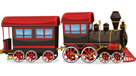 Illustration pour Old steam train, red and brown vector illustration cartoon. - image libre de droit
