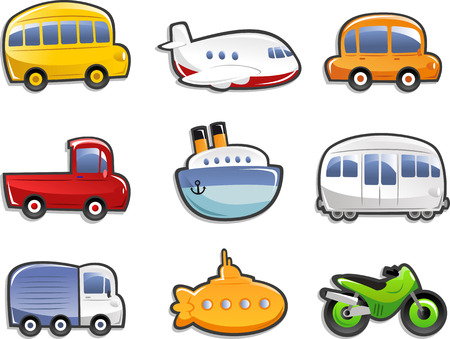 Illustration pour Transportation icons, with bus, plane, car, truck, lorry, ship, submarine, motorcycle. Vector illustration Cartoon. - image libre de droit