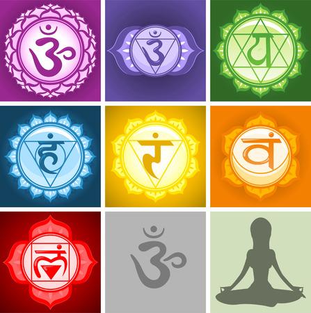 Illustrazione per Yoga Chakras symbols collection - Immagini Royalty Free