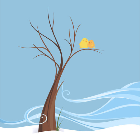 Illustration pour Birds in love perching in breezy winter on a tree, winter scene of a couple of birds in an isolated image. Brown tree with a little of breeze, two yellow birds laughing happily vector illustration. - image libre de droit