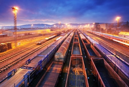 Photo pour Cargo train platform at sunset with container  - image libre de droit