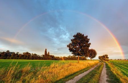 Foto de Rainbow over field road - Imagen libre de derechos