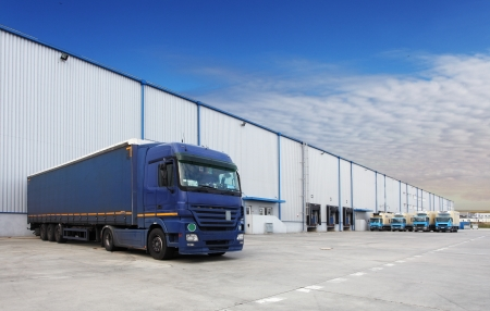 Photo for Truck at warehouse building - Royalty Free Image