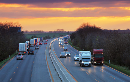 Photo for Trucks on highway, Traffic - Royalty Free Image