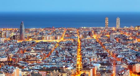 Foto de Barcelona skyline, Aerial view at night, Spain - Imagen libre de derechos