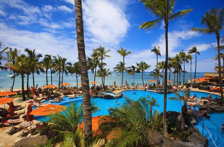 Photo for Swimming pool on Waikiki beach, Hawaii - Royalty Free Image
