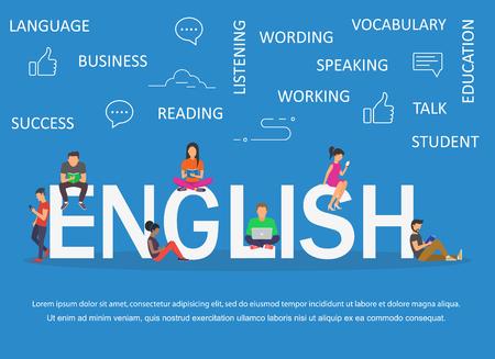 Ilustración de English word for education with icons flat design - Imagen libre de derechos