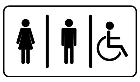 Ilustración de Vector Man, Woman and invalid one, restroom   toilette symbol  - Imagen libre de derechos