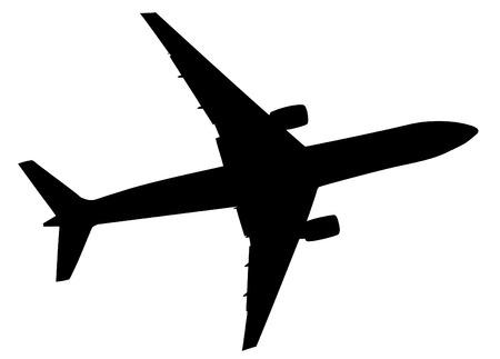 Ilustración de Black illustration of airplane silhouette , vector icon, eps 10. - Imagen libre de derechos