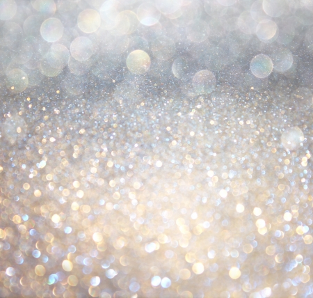 Photo pour white silver and gold abstract bokeh lights  defocused background   - image libre de droit