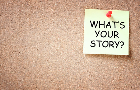 Photo pour what is your story concept  sticky pinned to cork board with room for text   - image libre de droit