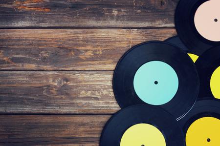 Photo pour top view of many records - image libre de droit