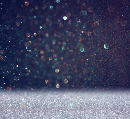 Photo pour glitter vintage lights background  light silver and black  defocused  - image libre de droit