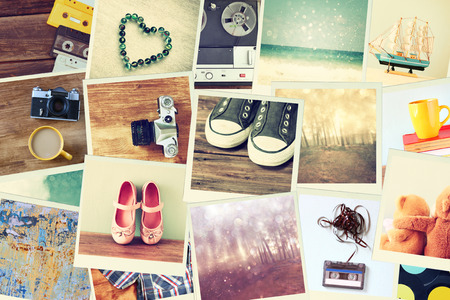 Photo for Mosaic with pictures of different objects  cillage with retro effect  - Royalty Free Image